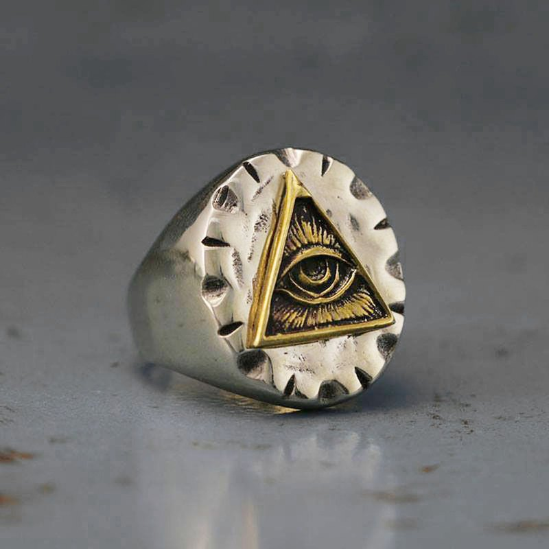 Mexican Biker Ring Skull silver Vintage brass freemason illuminati triangle Eye