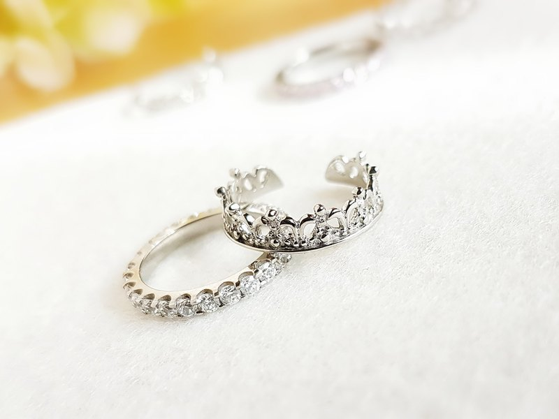 Little crown & Pave setting steel ring (set) (3 colors) #5~#8