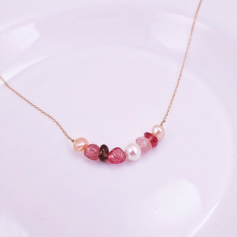 Good color red color natural stone x two-color natural freshwater pearl 14KGF necklace