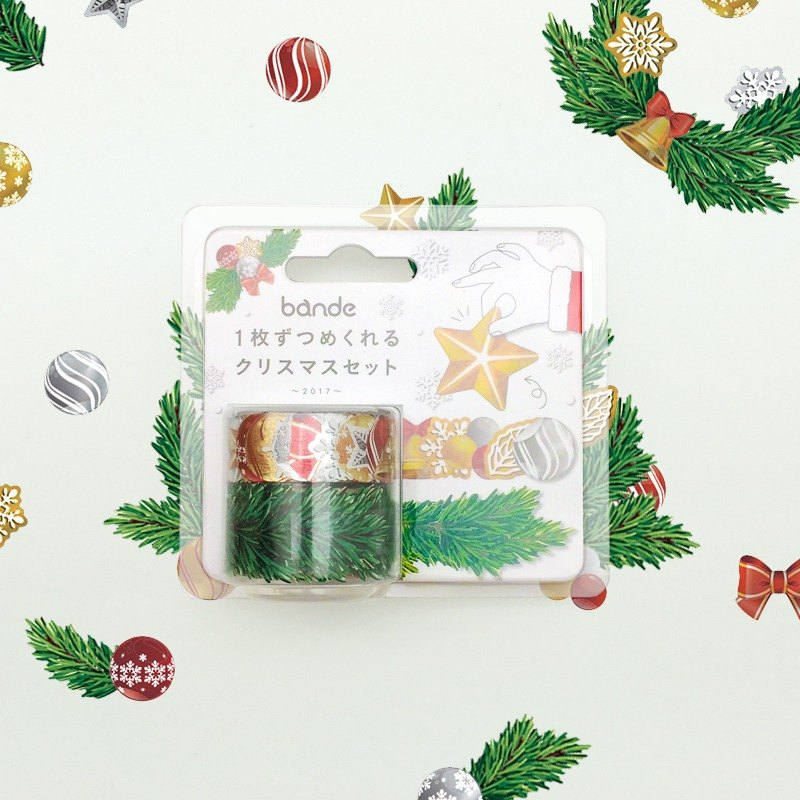 Japanese bande Christmas limited - [foil] Christmas tree with wreath and paper tape sticker roll
