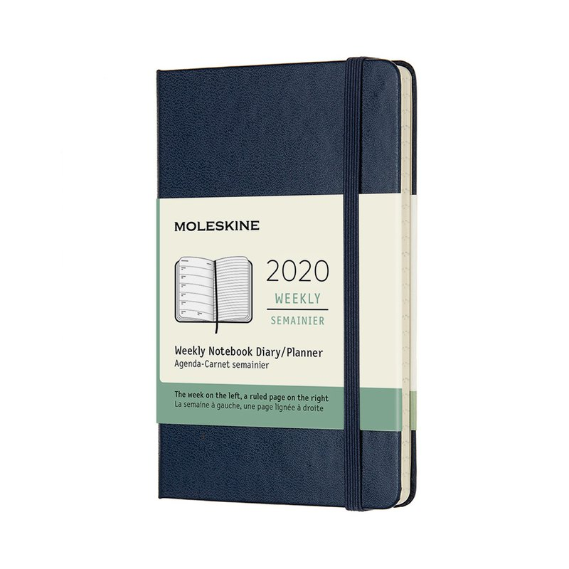 MOLESKINE 2020 Weekly 12M Hard Shell - L-shaped Royal Blue - Hot Stamping Service