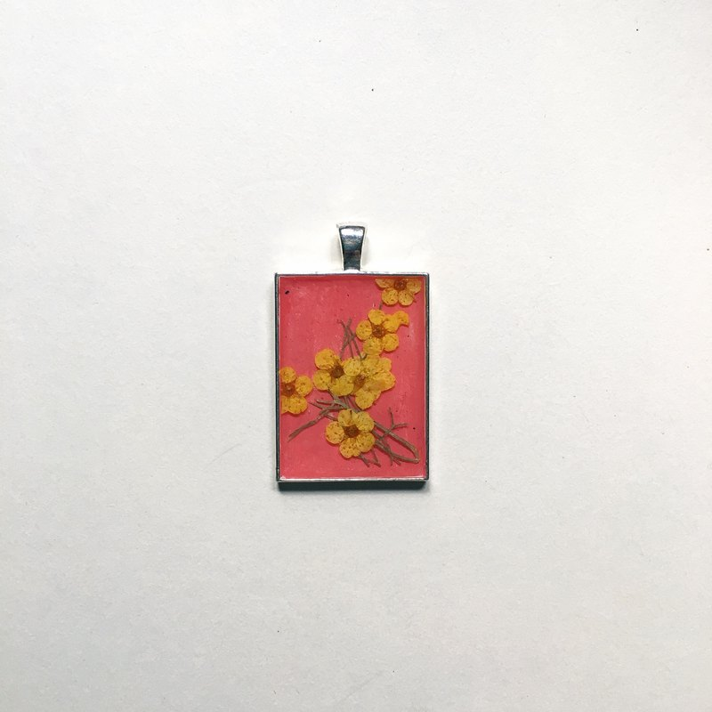 Yellow and red plum _ No. 40 _ flowers _ _25 * 35mm Pendant with 3mm unbleached kraft chain