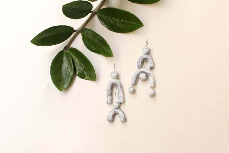 Jem, Marble earrings with Chunky Geometric Shapes