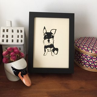 Schnauzer dog, hand-printed prints