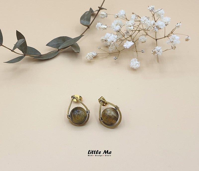 手工製作的虎眼石耳環,黃銅