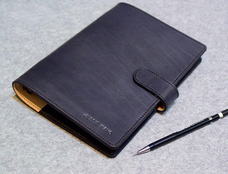YOURS leather handmade leather A5-Size 20-hole loose-leaf notebook thin layer plus a special edition version of the implicit Cikou gray-blue leather