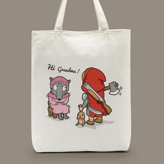 Red Riding Hood and Little Wolf shoulder canvas bag