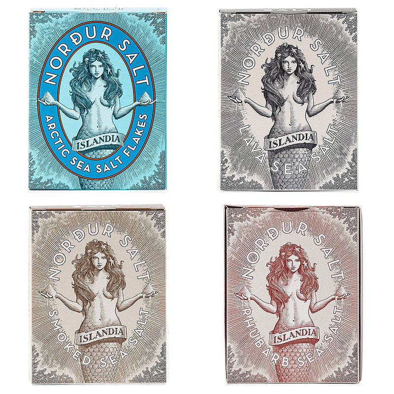 [New Year's Flash Free Shipping] NORDUR Iceland Goddess Sea Salt-Original/Volcano/Smoky/Rhubarb x4 boxes