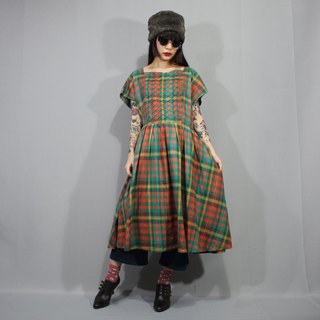 (Free shipping) (Vintage dresses) Green plaid wrap belt Japanese vintage dress (wedding/birthday gift) F3211
