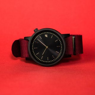 PRIME 1.0.1 Dark Hardwood Wooden Watch - Burgundy 42mm