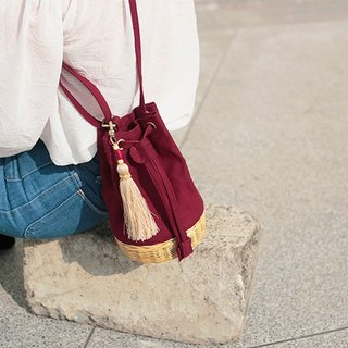 Maroon mini bucket bag