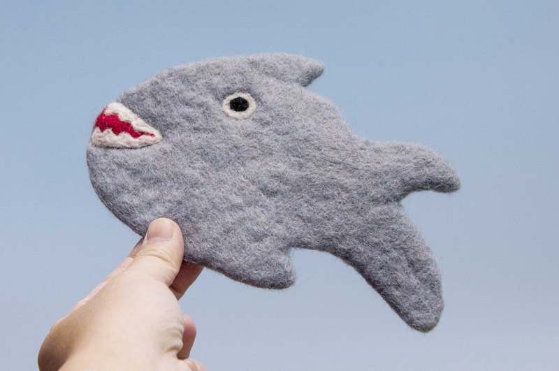 Valentine's Day National Wind Forest Series Wool Felt Coaster Animal Animal Coaster - Shark Drinking Coaster