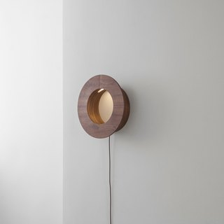 CAVE Circle storage wall lamp │ three-section touch dimming │ black walnut