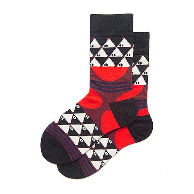 Couple socks creative geometric color matching cotton socks British style mix and match stockings