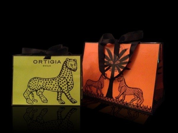 Europe 媞 O Ortigia Carry Bag wild bold leopard LOGO original design exquisite black ribbon gift bag / orange (large)