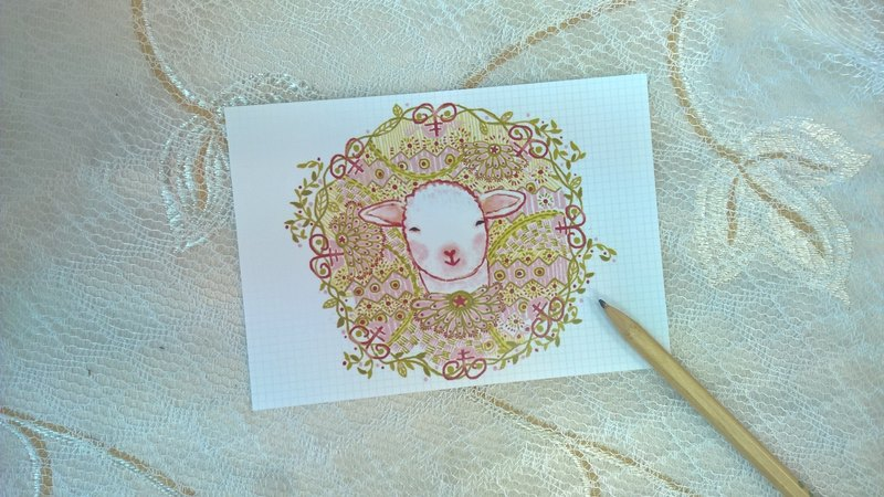 <Animals in the Secret Land>Proud Sheep postcard