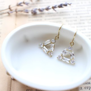 Bright triangles-Zircon earrings