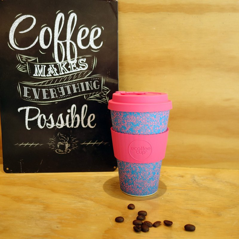 [Natural Bamboo Fiber] Environmentally Friendly Cup 14oz Pink Blue Flower