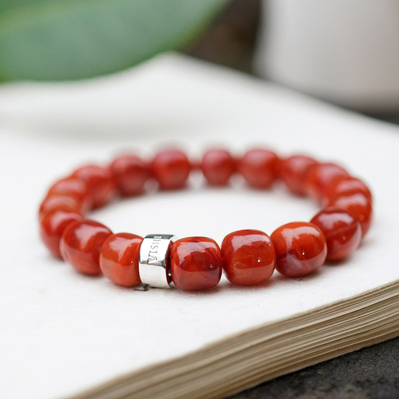 VISHI is not original natural yellow red agate bracelet chain flame pattern old barrel beads nine mouth Sichuan material authentic female