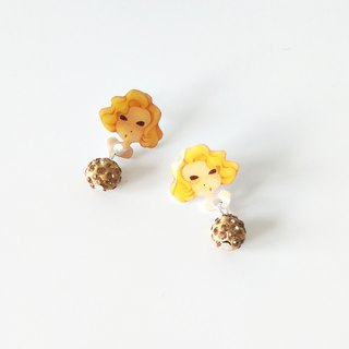 Little Q version cartoon Marilyn Monroe style yellow diamond earrings cute illustration / pin clip earrings