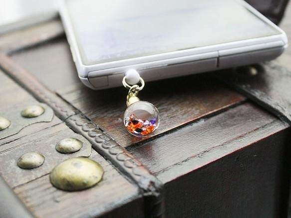 Bijou glass Ball strap or earphone jack - Halloween color ~