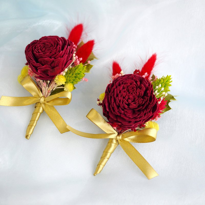 Wedding Collection-Red Sun Rose Dry Corsages Sold Individually