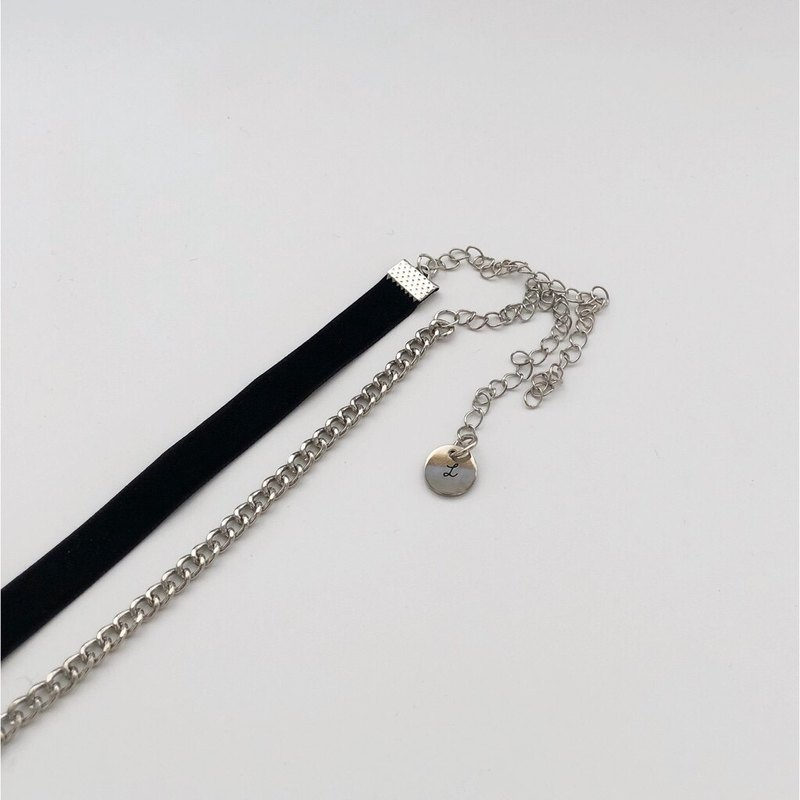 Silver thin chain velvet neck necklace two-piece set