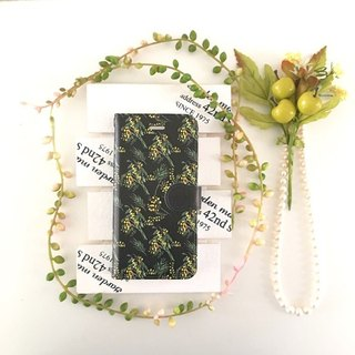 pajour) monotone black color mimosa pattern notebook type smart case [autumn winter] [flower pattern] no bijou