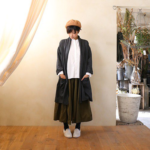 Washable Wool Long Cardigan (Dark Gray) [Unisex]