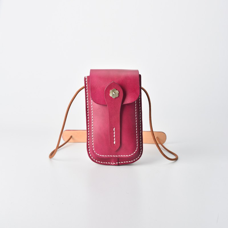 [Cut line] vegetable tanned leather first layer cowhide handmade mini mobile phone bag shoulder Messenger bag