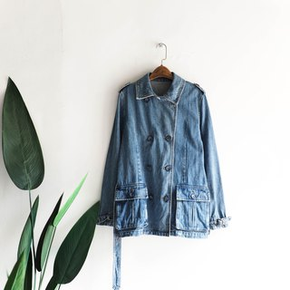 Kanagawa windbreaker style large pocket antique cotton denim shirt jacket coat vintage