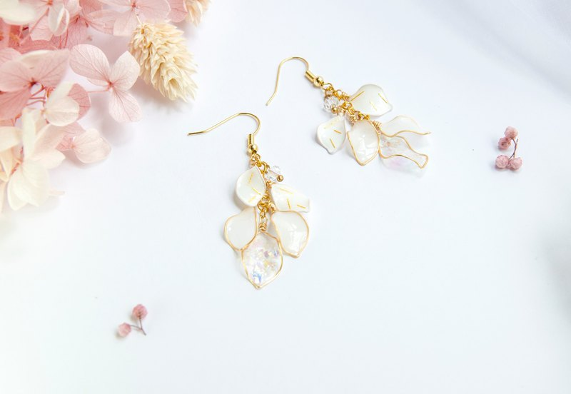 Golden Dialogue - resin earrings with silver 925
