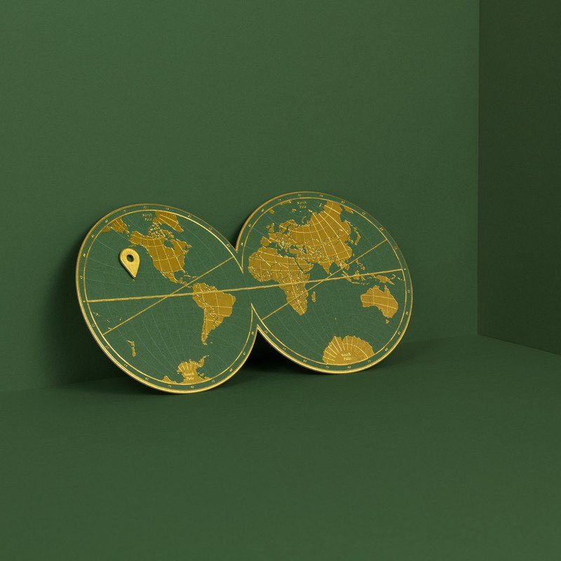 Im Here! WorldMap Postcard【Peridot Green】Travel/ Letterpress/ Gold foil/ Card