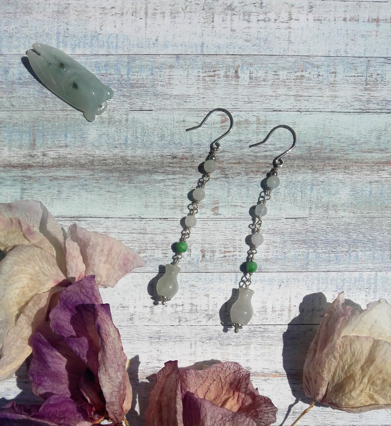 Ying Jade makeup jade step shake - natural Burma jade 925 silver design earrings