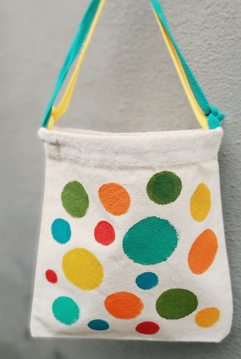 [Pure hand-painted] small size with handbag | flat | thick canvas | dot stripe lattice
