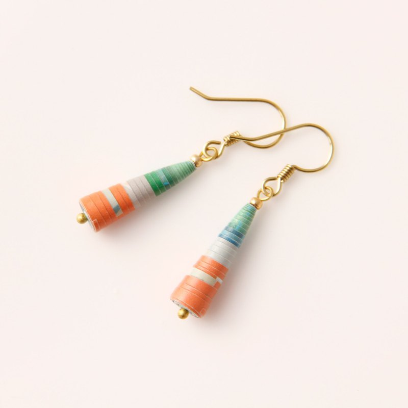 Musev Orange Green Small Awl Earrings