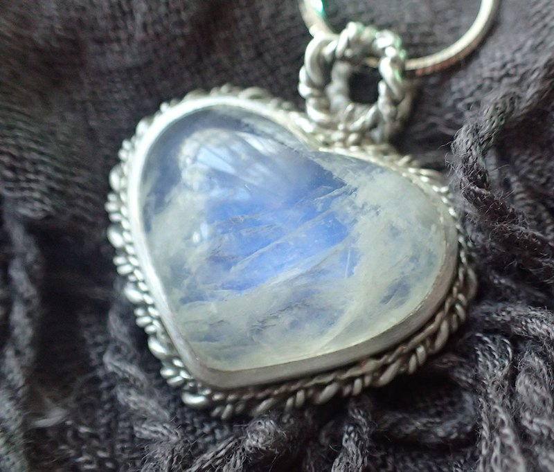 Natural Moonstone, Fine-Silver Pendant, necklace