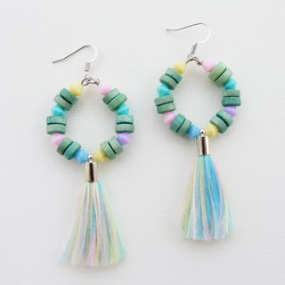 Mint wood earrings with pastel rainbow tassel