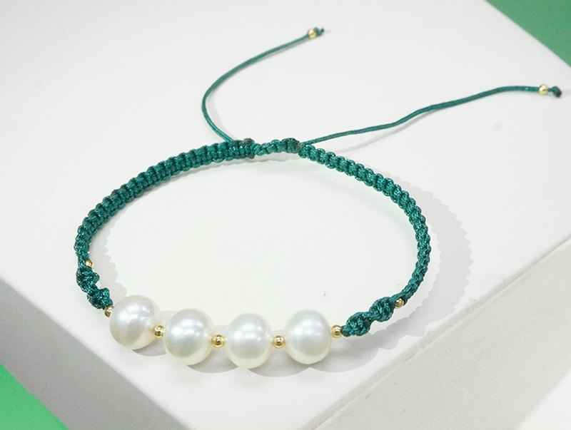 White Freshwater Pearl with Green Cord Bracelet