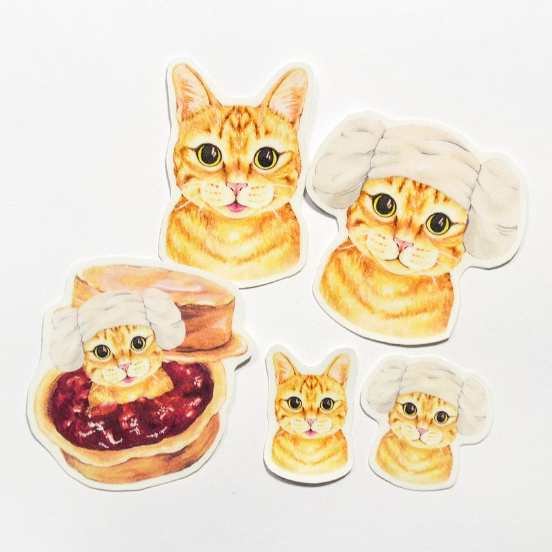 Single Matte Waterproof Sticker-Orange Cat Series
