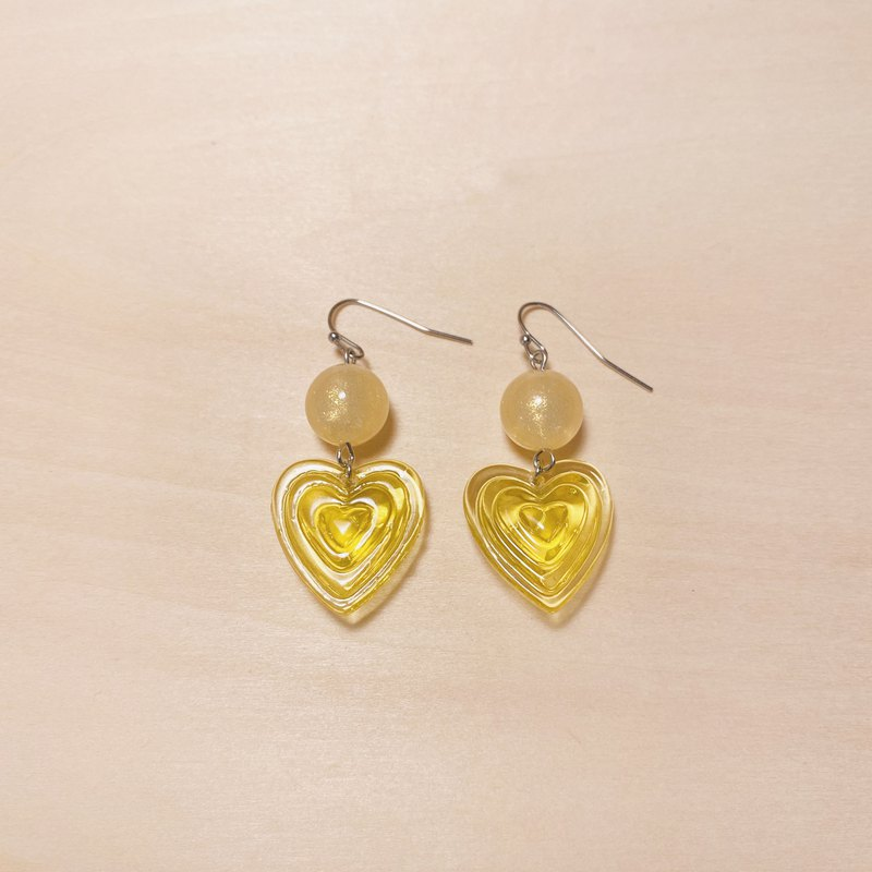 Vintage Bright Yellow Beads Stereo Yellow Love Earrings