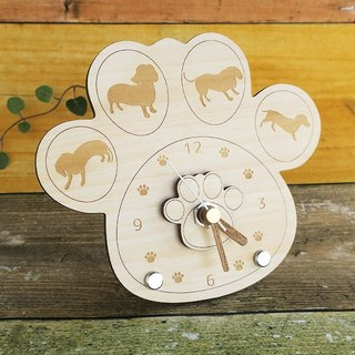 Dachshund's meat ball clock (wooden)