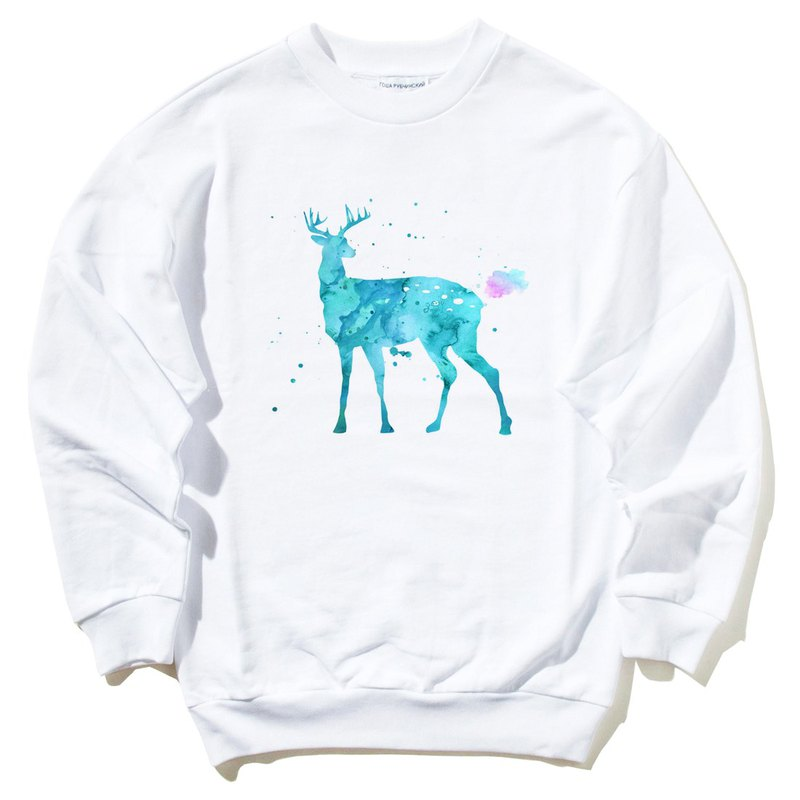 Splash Deer University T bristles white elk colorful watercolor illustration deer universe design own brand Milky Way trendy round triangle