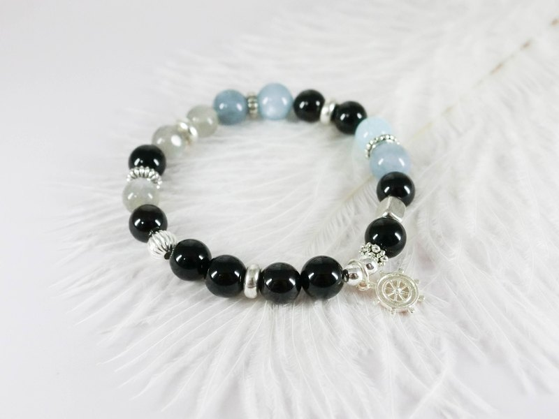 Ocean Love Natural Silver Bracelet │ Blue Black System 玥unicorn Aquamarine Moonstone