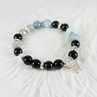 Ocean Love Natural Silver Bracelet│Blue Black Series玥unicorn 海蓝宝月光石