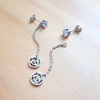 Belle blossoming rose fantasy three-wear ear clip 5mm single diamond rose rose ear is not afraid of water allergy