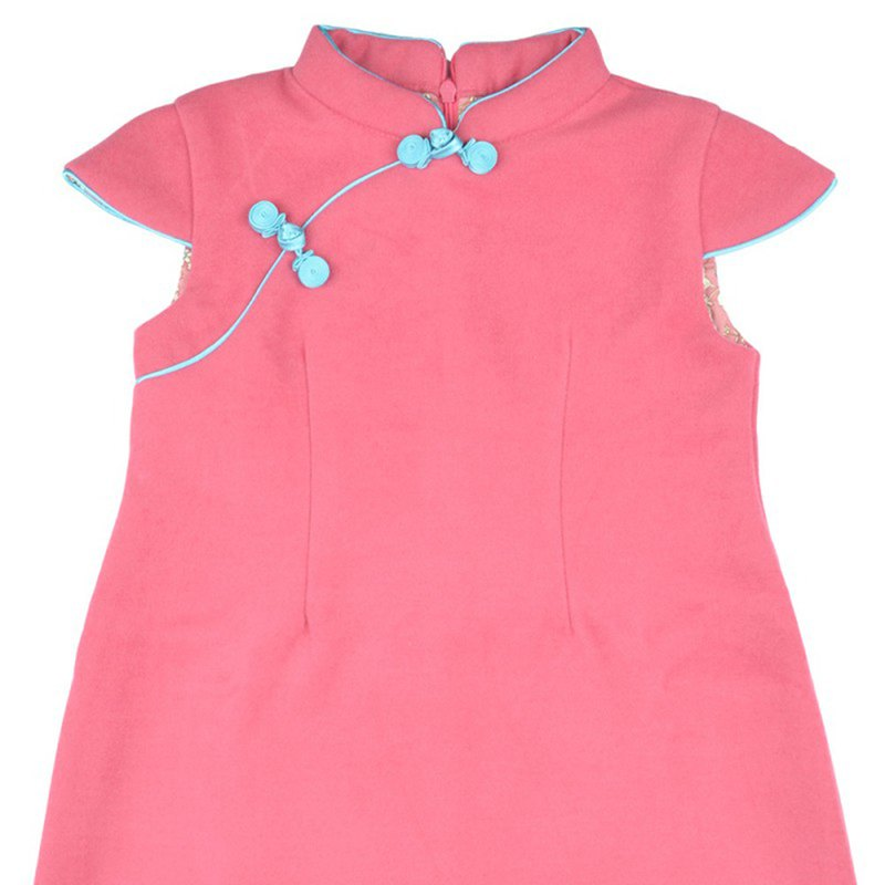 Children's cheongsam ancient style winter short-sleeved plain (pink)