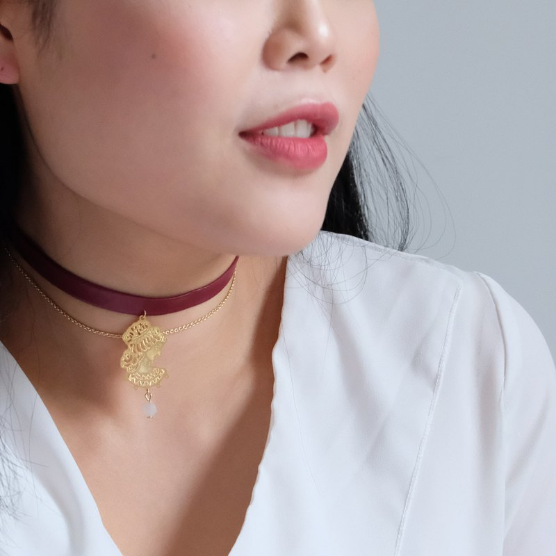 ALYSSA & JAMES Moon Series Wine Red Leather Goddess Pendant Necklace Choker