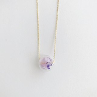 Purple Preserved Flower Planet Glass Ball  Necklace Birthday Gift Christmas gift for her girlfriend