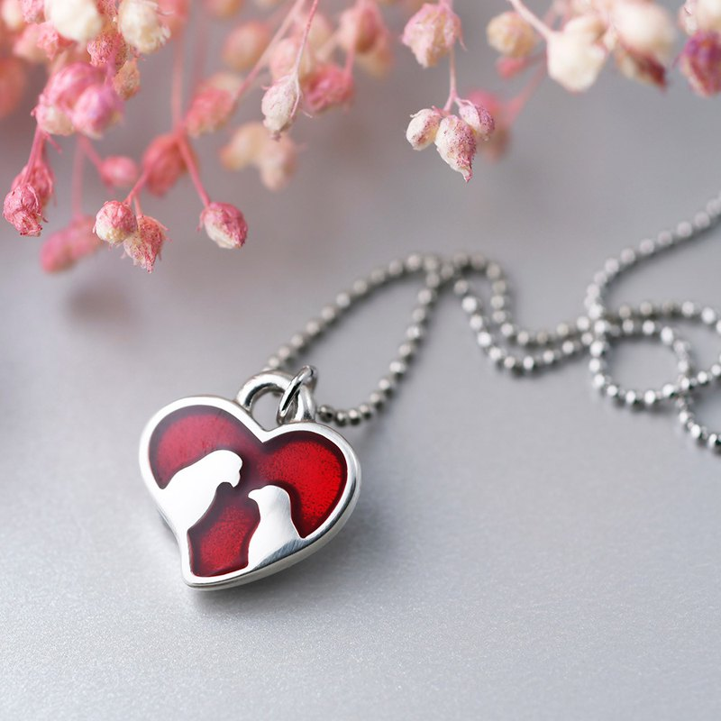 珐琅 Painted series love love heart shape necklace love red heart (NLAJA0801N-2)
